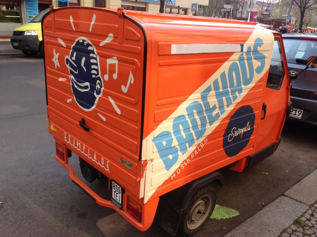 orange and blue van