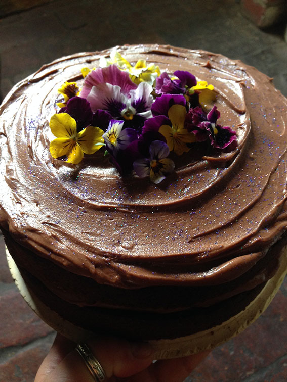 Decorating A Cake With Edible Flowers : SPOTTED - the first winter violas - chocolate cake with ...