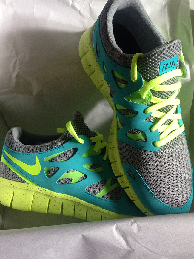neon and grey trainers