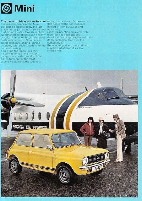 Today on weekend colour inspiration we have a fantastic vintage mini advert, which screams 1978. But, the blue and the yellow that features in this advert is actually quite a nice combination - go for mustard yellow and a pale sky blue and you have a colour combination not out of place in the 1950's...